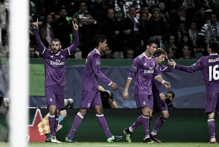 Real Madrid sofre, mas bate Sporting e segue na briga pela liderança do Grupo F
