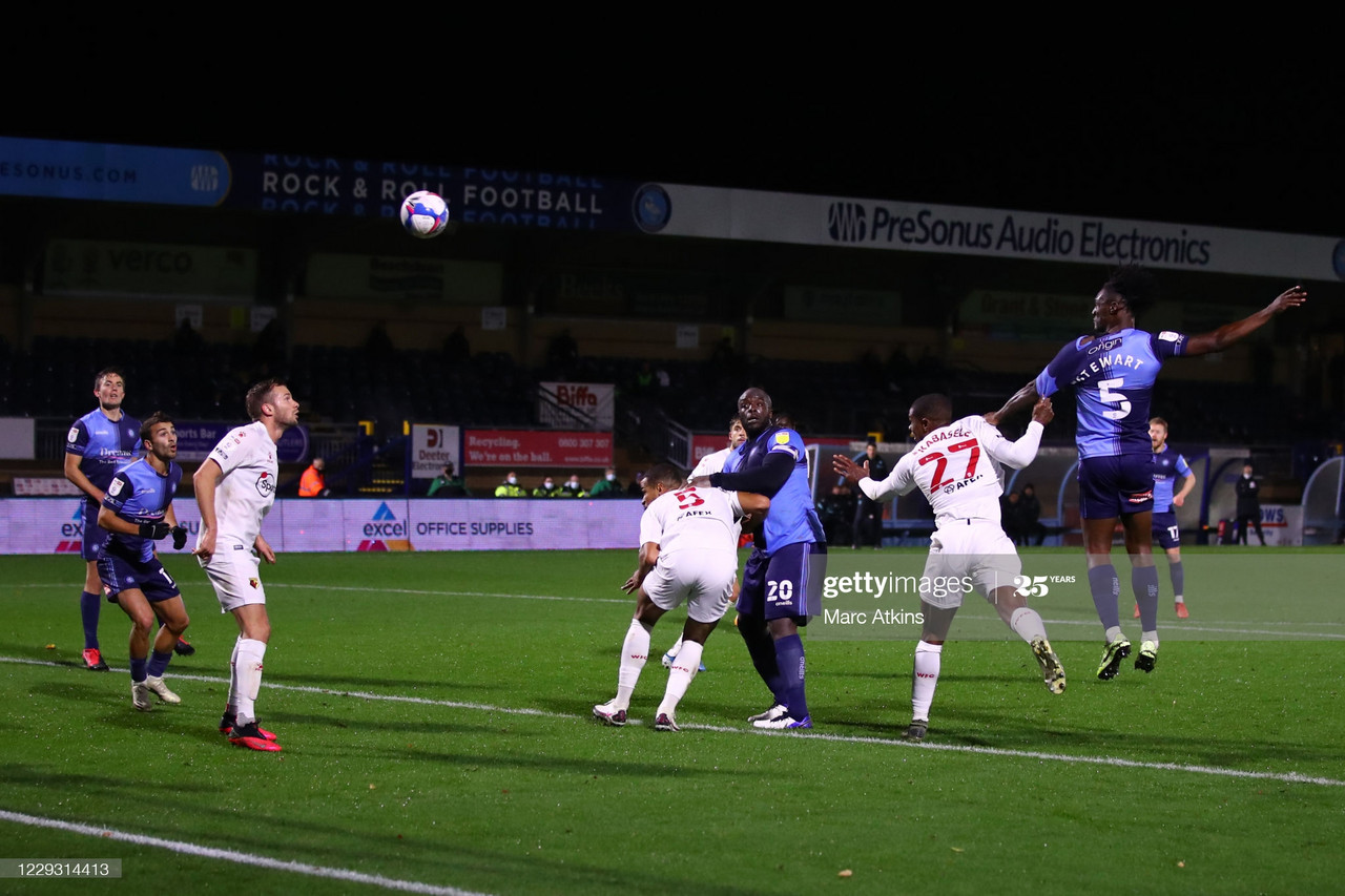Anthony Stewart of Wycombe Wanderers scores a goal to make it 1-1 during the Sky Bet Championship match between Wycombe Wanderers and Watford at Adams Park | Photo by Marc Atkins/Getty Images