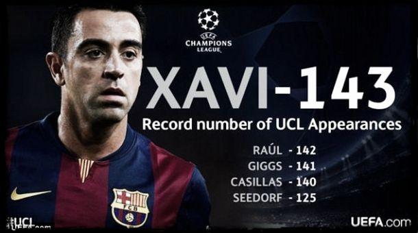 Xavi é o jogador com mais presenças na «Champions»