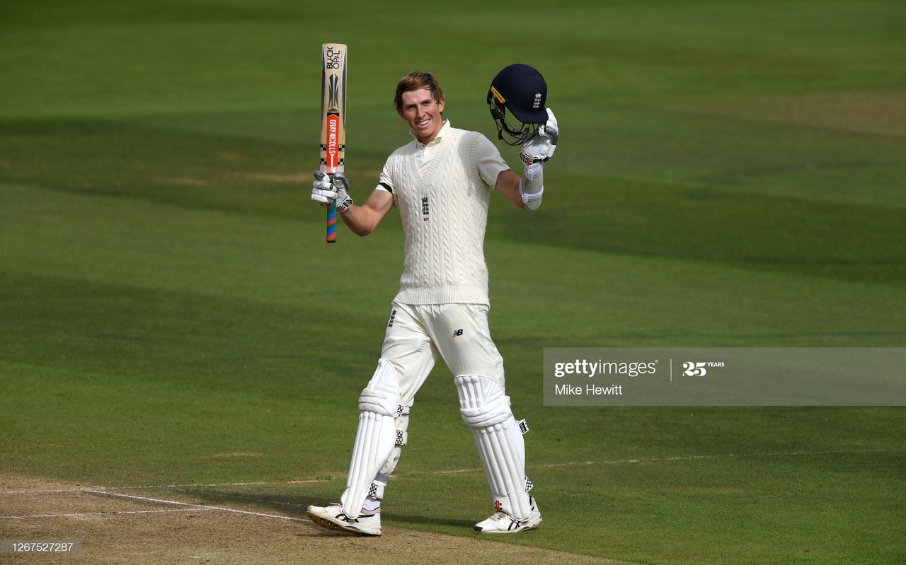 Zak Crawley celebrates a maiden test ton on Day 1 at the Rose Bowl