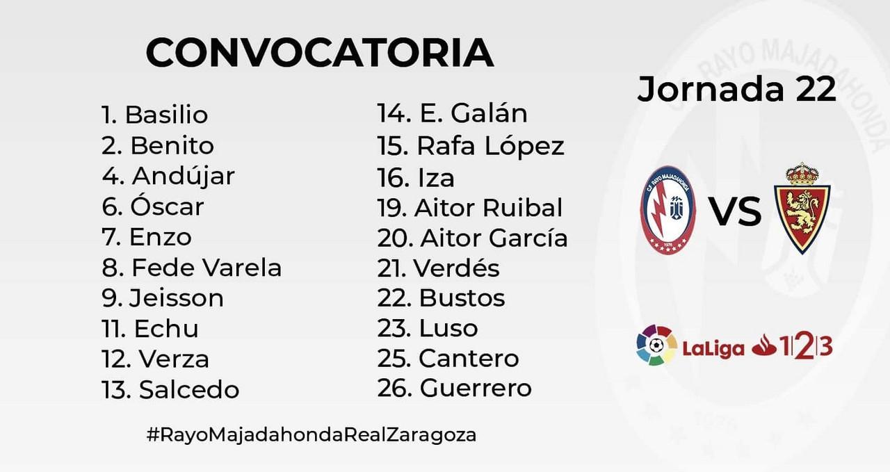 Los convocados del Rayo Majadahonda para recibir al Zaragoza
