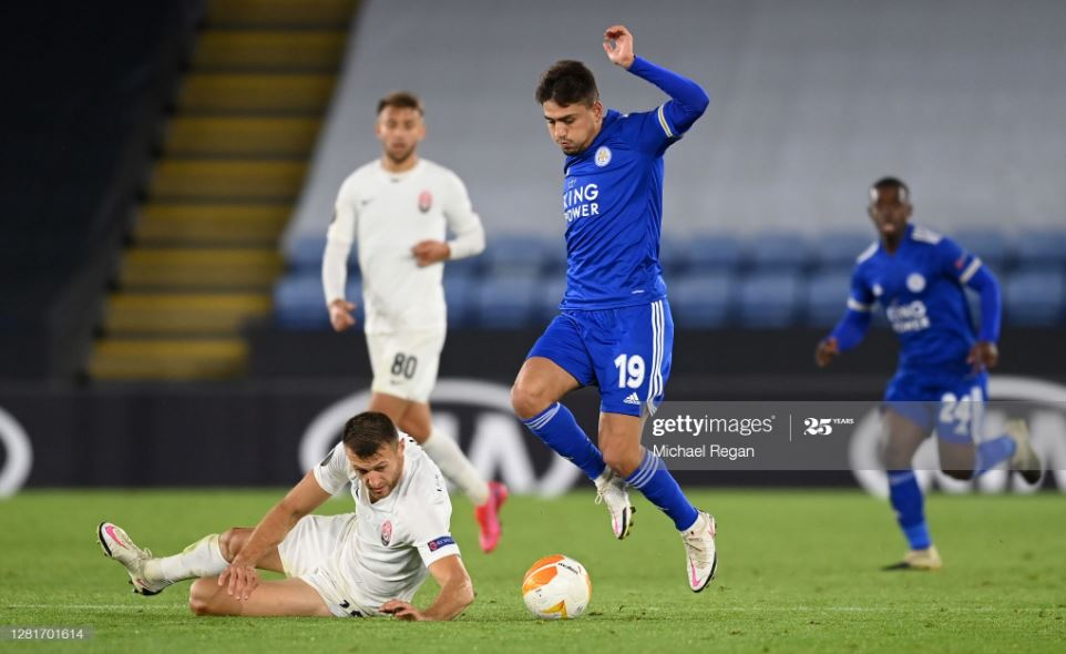 Cengiz Under in action against Zorya Luhansk at the King Power Stadium | Photo: Getty/ Michael Regan