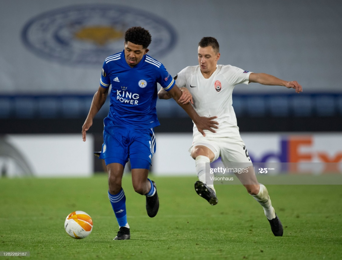 Wesley Fofana shields the ball in Leicester's previous 3-0 win against Zorya Luhansk | Photo: Getty/ Visionhaus
