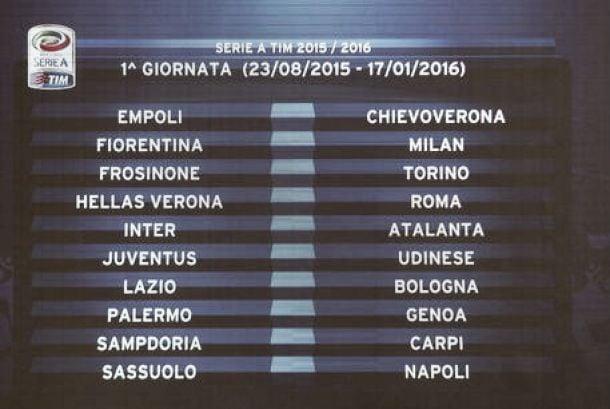 Svelato il Calendario Serie A 2015/2016: Roma - Juventus alla seconda giornata